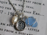anchor and sea glass wax seal charm necklace