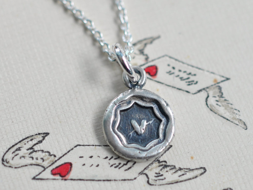 tiny heart wax seal necklace - love, charity, sincerity - sealed with love