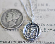 rose and crown wax seal necklace - friendship, love, truth