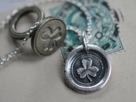 shamrock wax seal necklace - hope, faith and love - wax seal jewelry