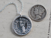 st. catherine of the wheel wax seal necklace