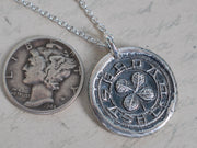 four leaf clover wax seal necklace - medieval wax seal jewelry