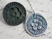 flower wax seal necklace - hope and joy - medieval wax seal jewelry