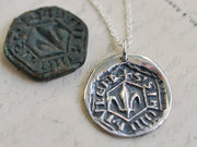medieval fleur de lis wax seal necklace - faith, wisdom, valor
