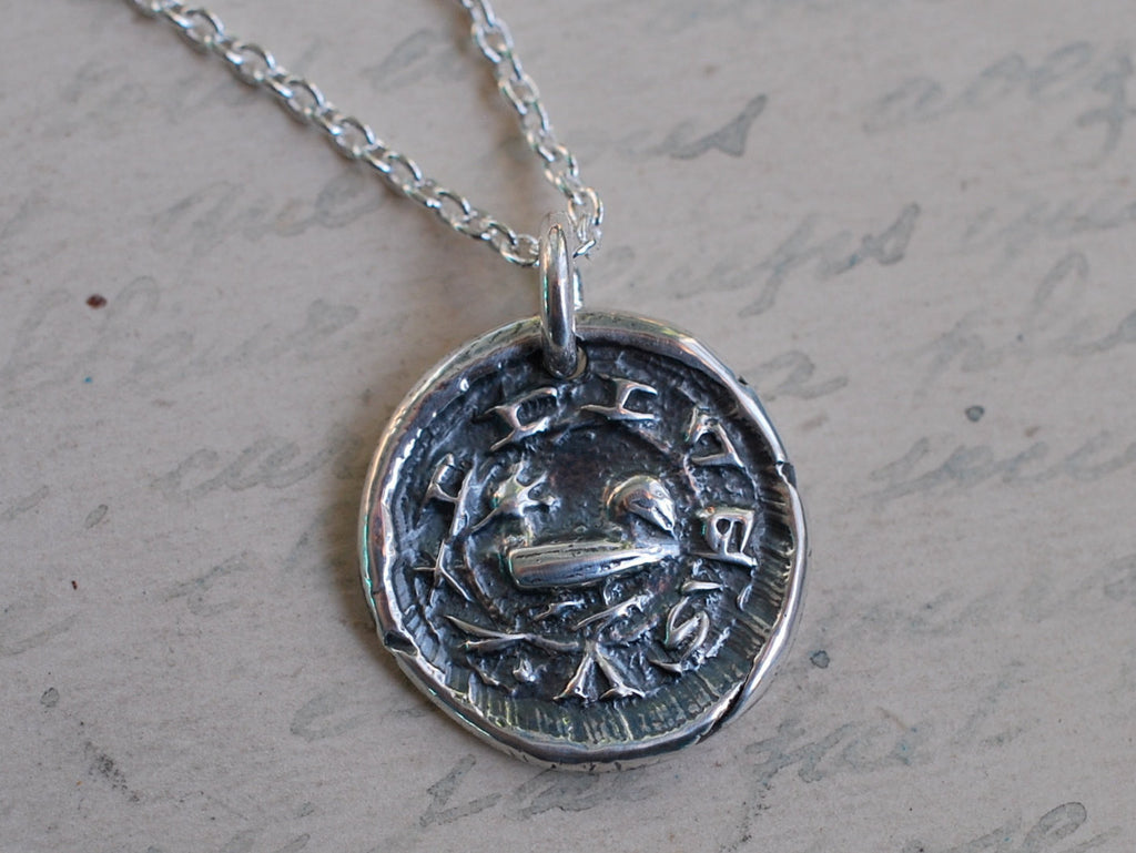 medieval rooster wax seal necklace