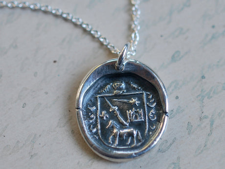 horse family crest wax seal necklace - jousting under a shooting star