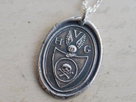 skull crest wax seal necklace