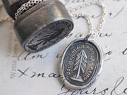 evergreen tree wax seal necklace - I change only in death - Russian motto
