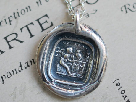 Cupid and owl wax seal necklace - let us consider - wax seal jewelry