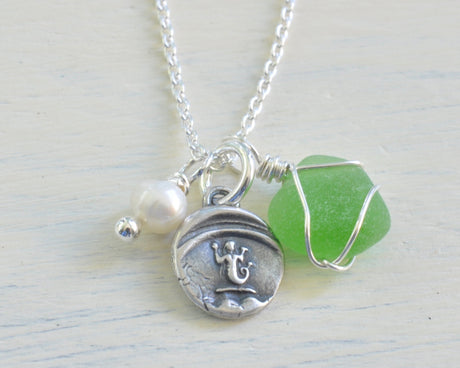 mermaid wax seal, sea glass and pearl charm necklace