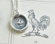 rooster wax seal necklace