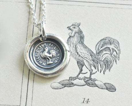 rooster wax seal necklace - while I live I'll crow