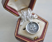 wild rose wax seal necklace - love, beauty