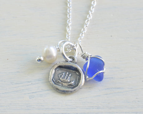 tiny ship wax seal, sea glass, and pearl charm necklace - wax seal jewelry