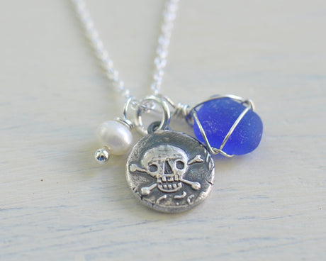 skull and crossbones wax seal, sea glass, and pearl charm necklace - I am a pirate