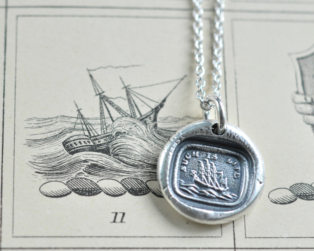 such is life ship wax seal necklace pendant