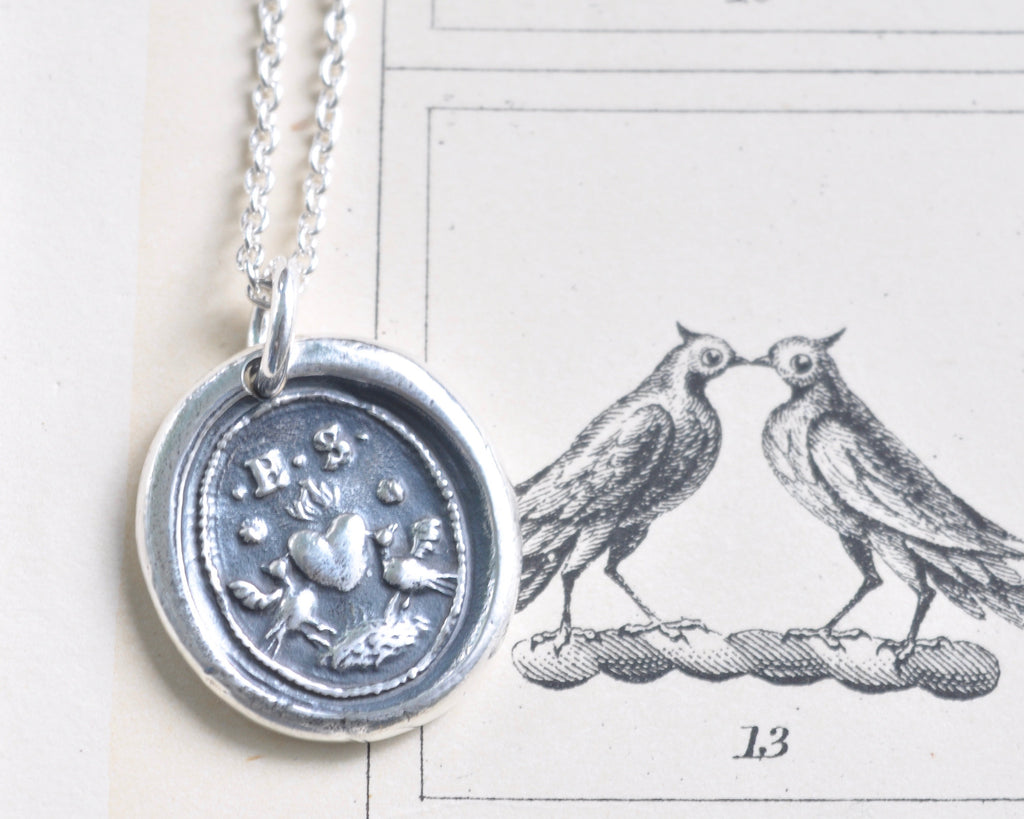 two lovebirds wax seal necklace