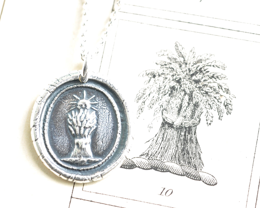 wheat sheaf wax seal necklace
