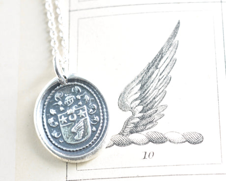 wing crest wax seal necklace