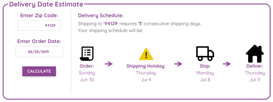 Delivery Estimate Calc