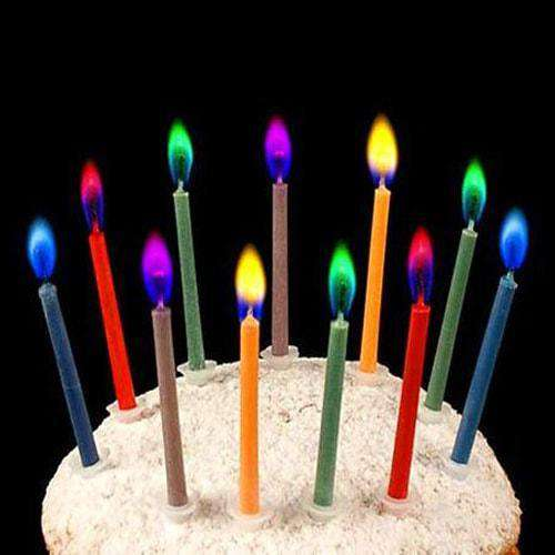Birthday Candles with Colored Flames
