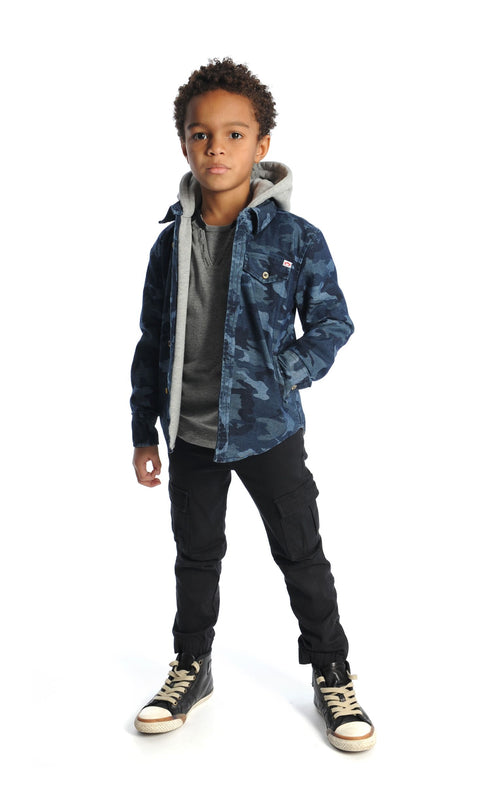 Chambray Camo Hooded Jacket