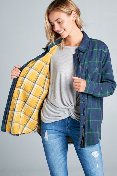 Maggie Plaid Zip Up
