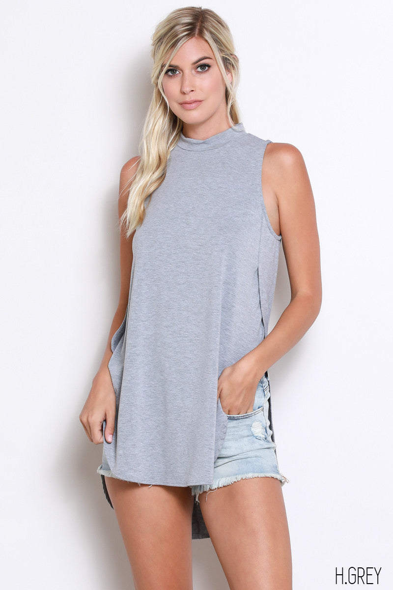 Sleeveless Tank with Side Slit