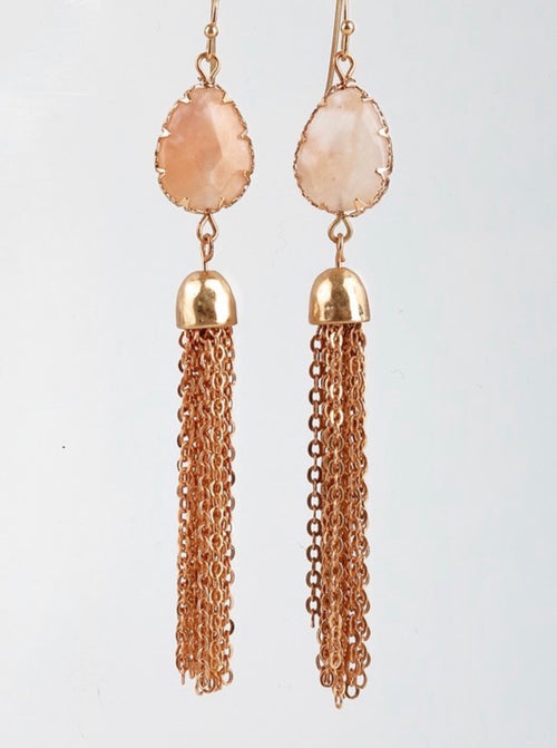 Stone & tassel earrings