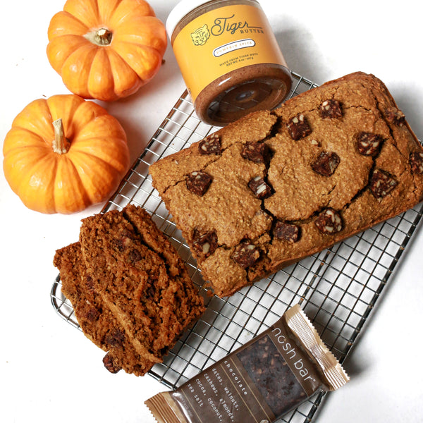 tigernut butter & chocolate nosh bar chunk pumpkin bread