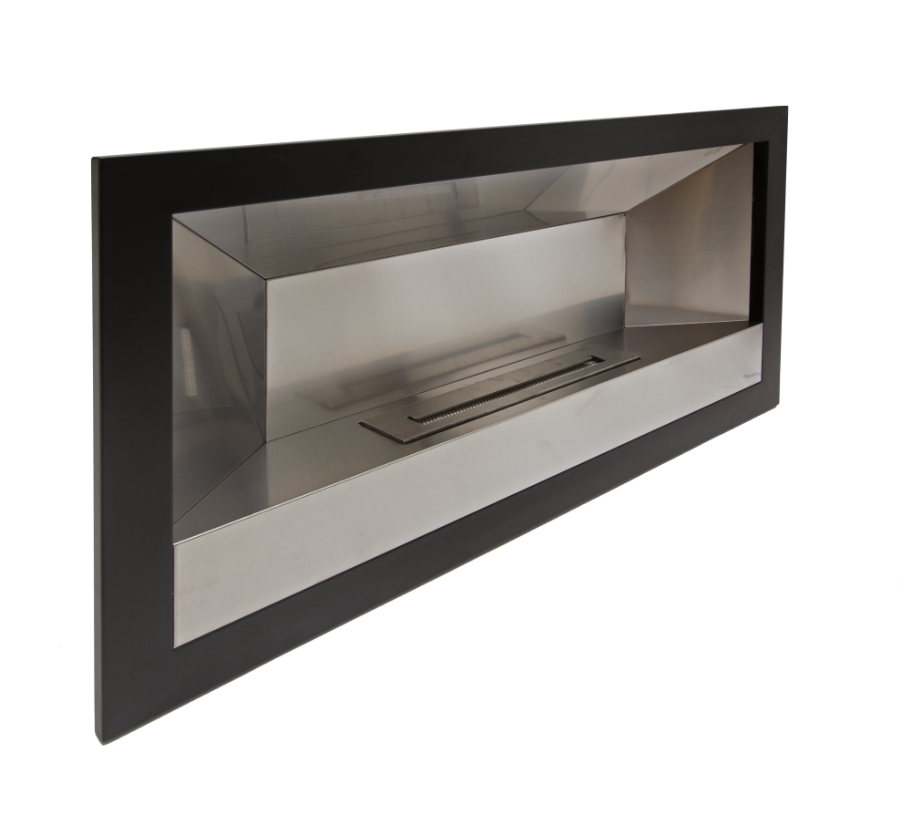 wall mounted black stainless steel  fireplace – megamaster -  wall mounted black stainless steel  fireplace