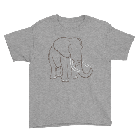 Elephant Type Figure Youth Short Sleeve T-Shirt - Ink Formation