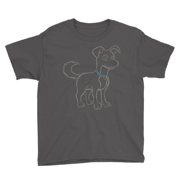 Dog Type Figure Youth Short Sleeve T-Shirt - Ink Formation