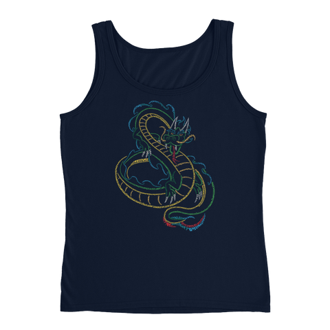 Chinese Dragon Type Figure Ladies' Tank - Ink Formation