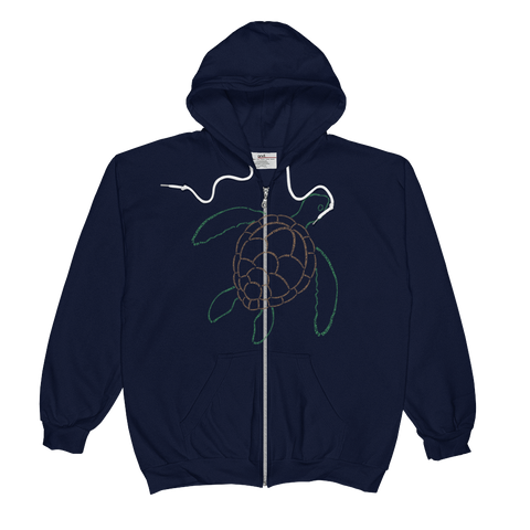 Sea Turtle Type Figure Unisex  Zip Hoodie - Ink Formation