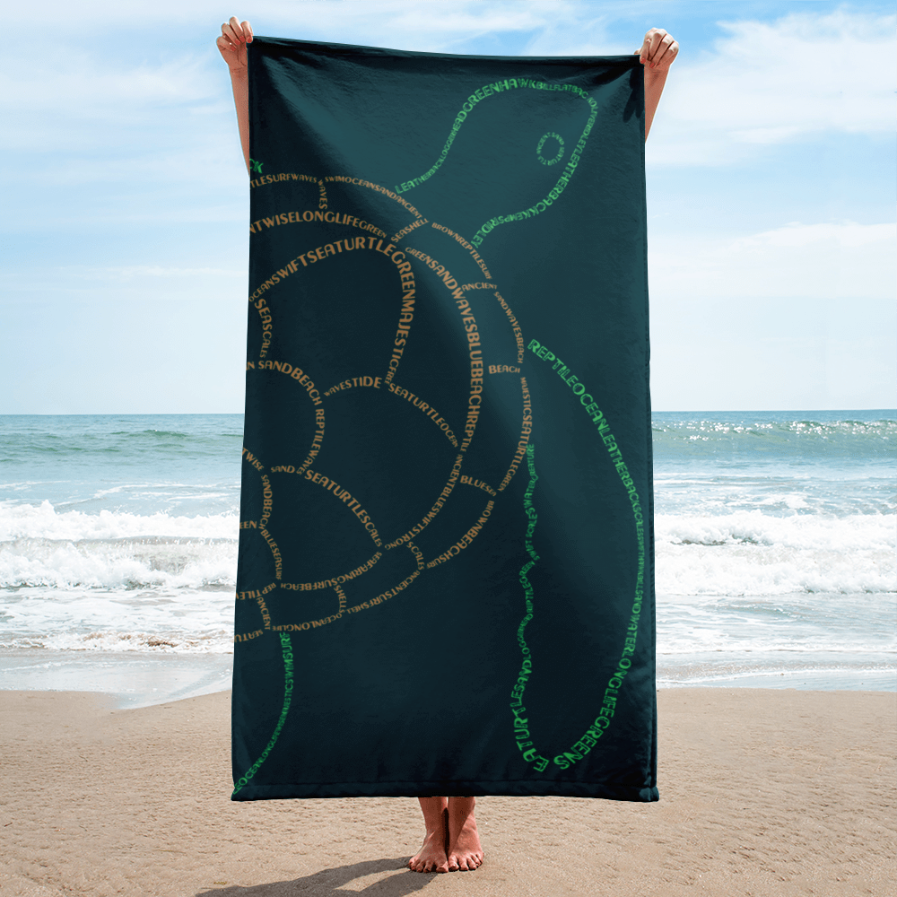 Sea Turtle Type Figure Beach Towel - Ink Formation