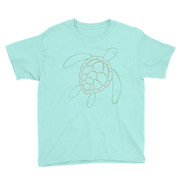 Sea Turtle Type Figure Youth Short Sleeve T-Shirt - Ink Formation