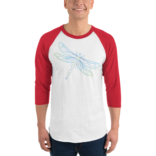 Dragonfly Type Figure 3/4 sleeve raglan shirt - Ink Formation