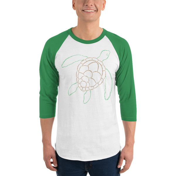 Sea Turtle Type Figure 3/4 sleeve raglan shirt - Ink Formation