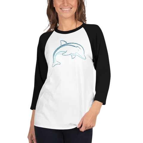 Dolphin Type Figure 3/4 sleeve raglan shirt
