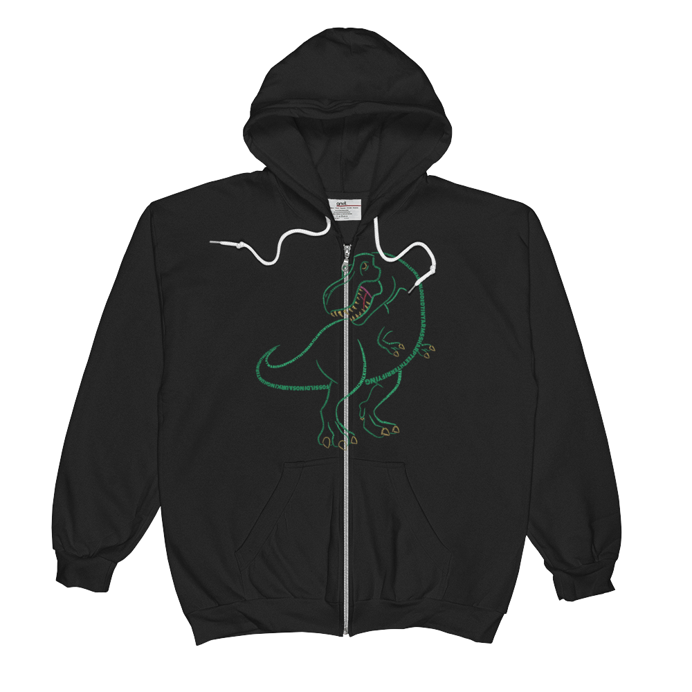 T-Rex Type Figure Unisex  Zip Hoodie - Ink Formation