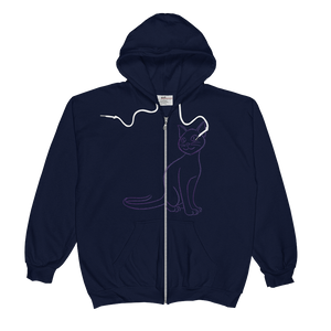 Cat Type Figure Unisex  Zip Hoodie - Ink Formation