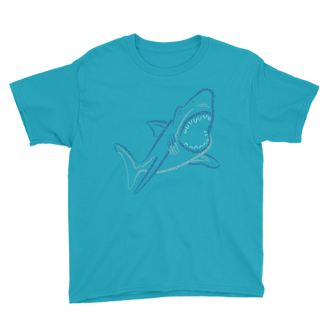Shark Type Figure Youth Short Sleeve T-Shirt - Ink Formation