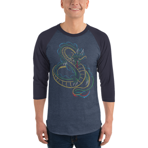 Chinese Dragon Type Figure 3/4 sleeve raglan shirt - Ink Formation