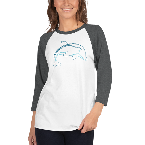 Dolphin Type Figure 3/4 sleeve raglan shirt - Ink Formation