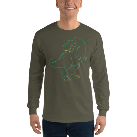 T-Rex Type Figure Long Sleeve T-Shirt - Ink Formation