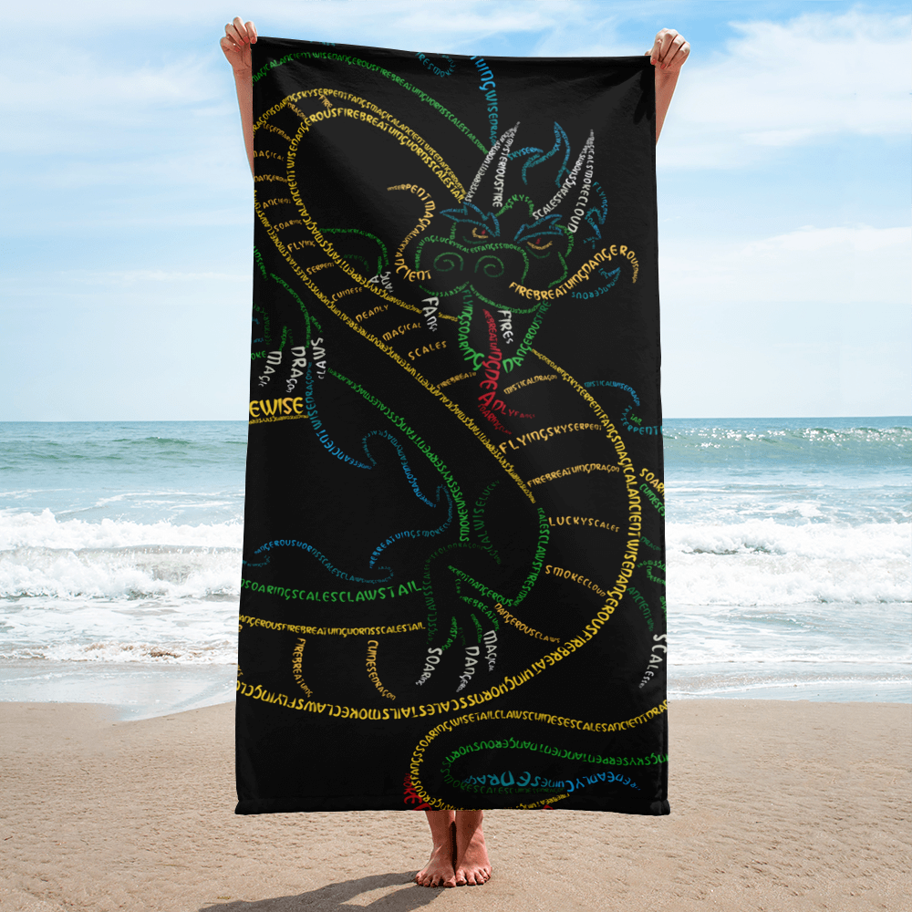 Chinese Dragon Type Figure Towel - Ink Formation