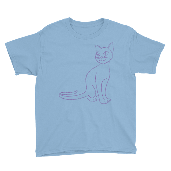 Cat Type Figure Youth Short Sleeve T-Shirt - Ink Formation
