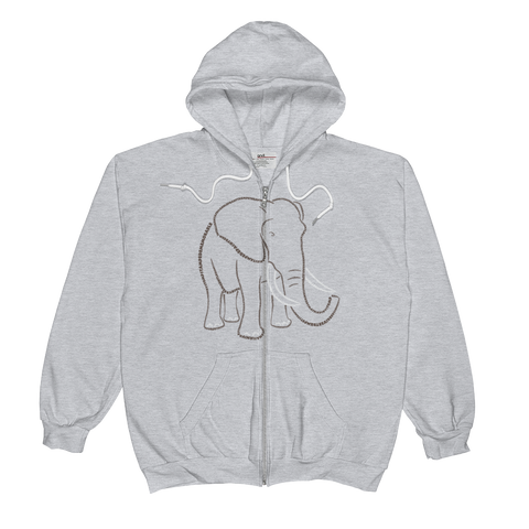 Elephant Type Figure Unisex  Zip Hoodie - Ink Formation