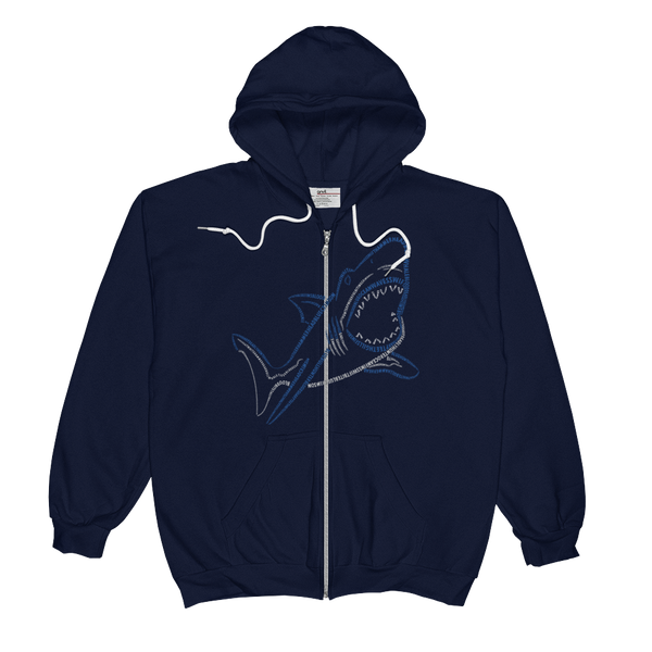 Shark Type Figure Unisex  Zip Hoodie - Ink Formation